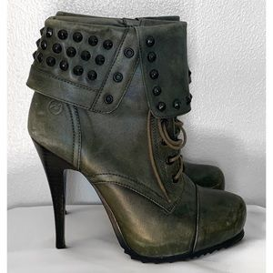 BRONX RENNA GADE LEATHER STUDDED BOOTS SZ 40 / 9